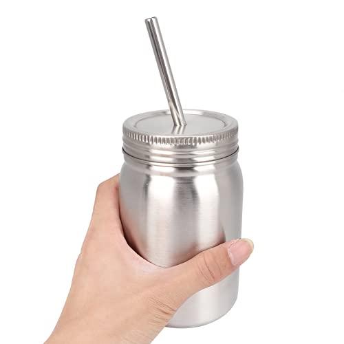 Taza De Acero Inoxidable, Botella De Agua Ligero Para El Hogar 700 Ml Resistente Al Desgaste Con Una Pajita Para Uso Familiar Viajes Al Aire Libre, Viajes De Negocios