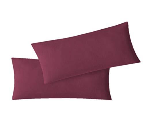 EXKLUSIV HEIMTEXTIL Jersey Kissenbezug Hülle 2 Sparpack Set mit Reißverschluss hochwertige Qualität 40 x 60 cm Bordeaux