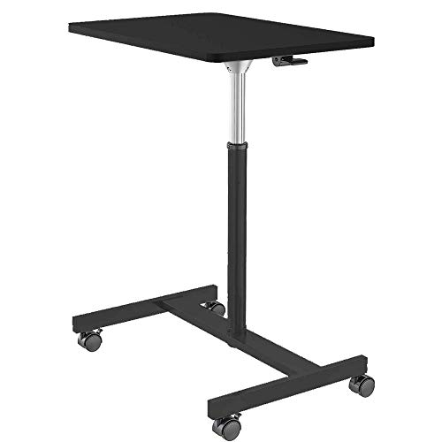Height Adjustable Laptop Desk Mobile Standing Desk Multi-Function Home Office Moveable Desk with Wheels Black…
