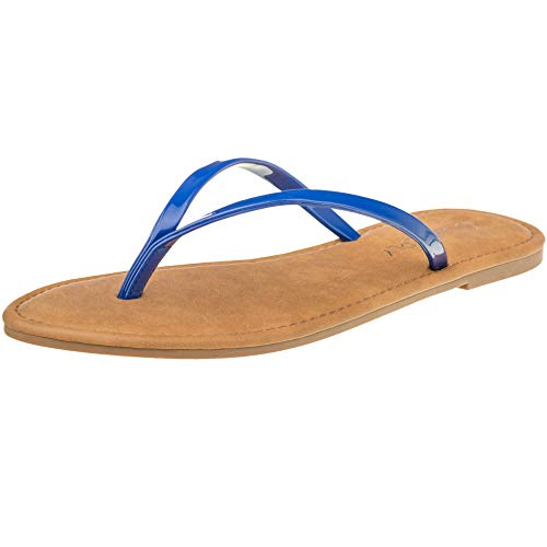 CLOVERLY Women's Summer Flat Flip Flops Slip On Sandals Shoes (9, Royal Blue)