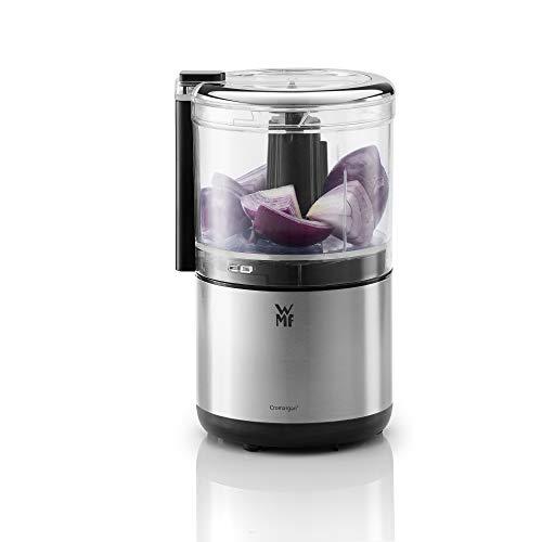 WMF Küchenminis Multizerkleinerer elektrisch, Einhandbedienung, platzsparender Zwiebelschneider mit abnehmbarem Behälter 0,3l, Edelstahl matt, 65W