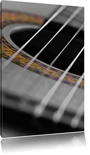 Geluid gat van een akoestische gitaarFoto Canvas | Maat: 120x80 cm | Wanddecoraties | Kunstdruk | Volledig gemonteerd
