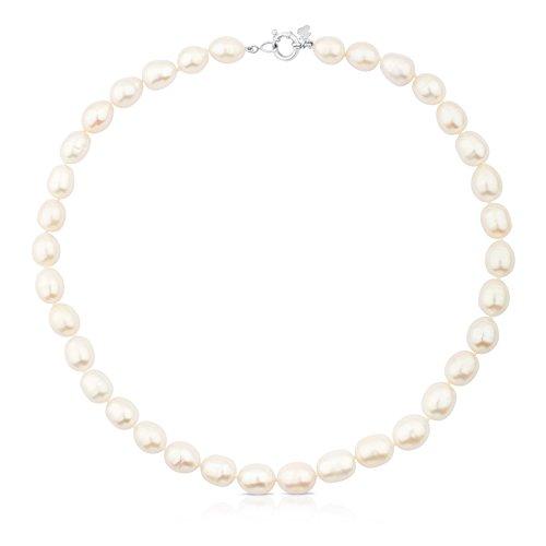 TOUS Collar Mujer Perlas de 0,95-1 cm y cierre de plata, Largo 45 cm