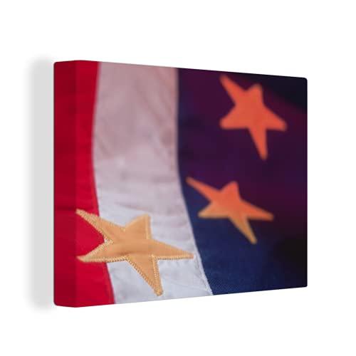 Leinwandbild - Nahaufnahme der Flagge von Kap Verde - 120x90 cm
