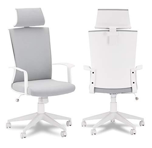 Ibbe Design Ergonomisch Weiss Grau Bürostuhl Schreibtischstuhl Bolero mit Armlehne, Höhenverstellbar, Drehstuhl, Belastbar bis zu 150kg, 60x61x130 cm