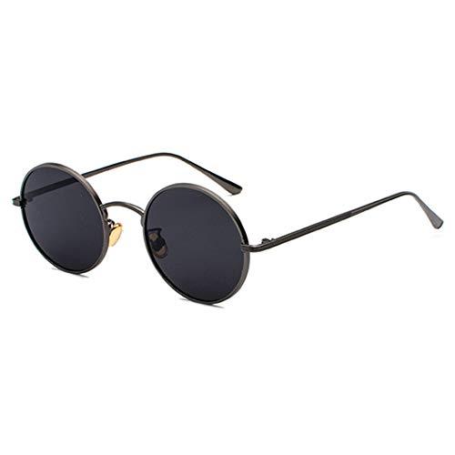 Inlefen Gafas de sol Hombres Mujeres Redondo Vintage Círculo estilo Gafas de sol Gafas de marco de metal de color Gafas pistola negra