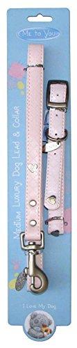 MeToYou Luxus Hundeleine und Halsband mit Herzen, rosa, medium