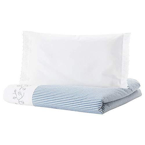 IKEA ASIA GULSPARV Bettbezug für Kinderbett, gestreift, Blau, 110 x 125 cm, 35 x 55 cm