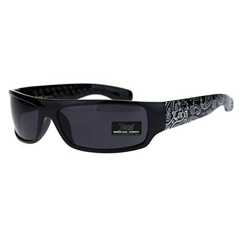 Locs Mad Dog Hardcore Gangster Cholo schmale rechteckige Sonnenbrille, Schwarz (Bandana Schwarz), Einheitsgröße