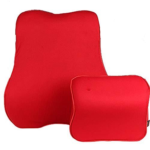 DGDF Cuscino del Collo dell'automobile Lombare-Support-Memory Foam Cuscino Lombare Set-Traspirante Cuscino Cuscino Lombare-Alleviare Indietro e Collo-Auspicious Red