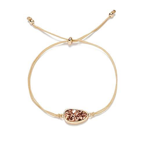 lonfenner Kristall Armreif,Naturstein Armband, Quarzkristall Druzy Armband, Gold Damen Seil Cuff Bracelet Geschenk, Geburtstag Geschenk, Weihnachten Geschenk