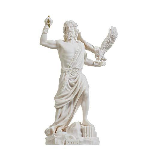 Zeus griechischer Gott Jupiter Donner Statue Figur Alabaster 23,5 cm
