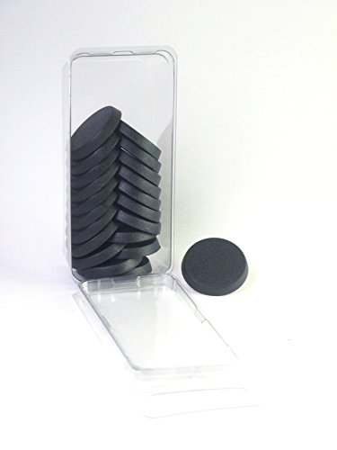 Hedral Value Pack of 20 - 25MM Round Black Light Infantry Miniature Model Bases for Tabletop or Miniature Wargames