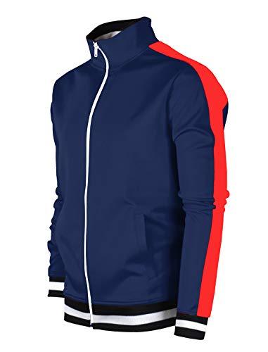 SCREENSHOTBRAND-F11853 Mens Urban Hip Hop Premium Track Jacket - Slim Fit Side Taping Basic Fashion Top-NV/RD-Medium