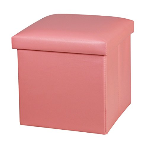 NISUNS OT01 Leather Folding Storage Ottoman Cube Footrest Seat, 12 X 12 X 12 Inches (Pink)