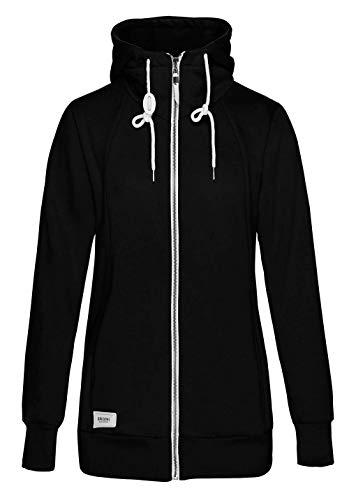 TrendiMax Damen Sweatjacke Kapuzenjacke Full Zip Sweater Langer Hoodie Kapuzenpullover-L-Schwarz