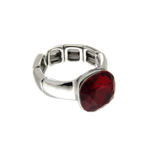 Sweet Deluxe Stretchring Diva, Silber/rot I Damen-Ring I Mode-Schmuck Ring für Frauen I Ringe Rings für Mädchen I modisches Design-Accessoires