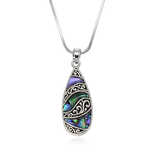 PammyJ Silvertone Abalone Tear Drop Pendant Necklace, 17.5 inches