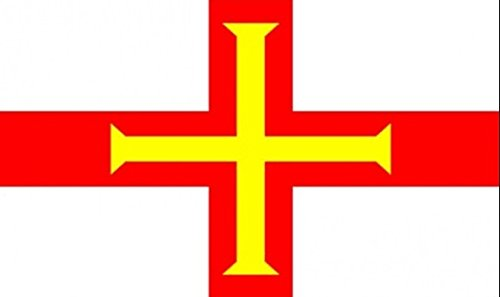 18 x 12 (45 x 30 cm) Guernsey Channel Islands Sleeved Boat Courtesy 100% Polyester Material Hand Waving Flag Banner Ideal For Pub Club School Festival Business Party Decoration by UKFlagShop