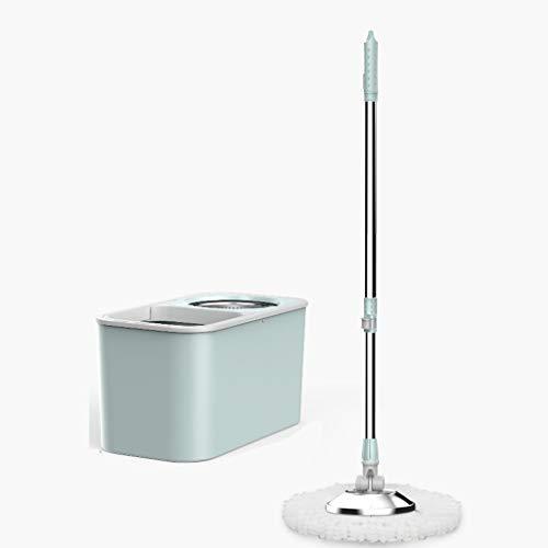 Kiki Spin Mop 360 Spin Mop Bucket Set de acero inoxidable Spin Wringer con 2 almohadillas de microfibra para cabezal de fregona fácil de presionar el mango de limpieza del piso (color: azul)