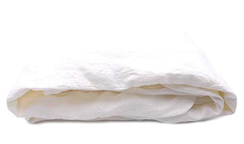 JOWOLLINA 100% Leinen Stonewashed Laken Tuch Überwurf (240x260 cm, Off White Soft)