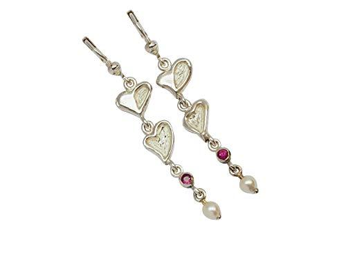 WormsRose im RosenGarten - Ohrringe Ohrhänger mit Herzen & Rubin Zuchtperle für Damen 925 Sterling-Silber
