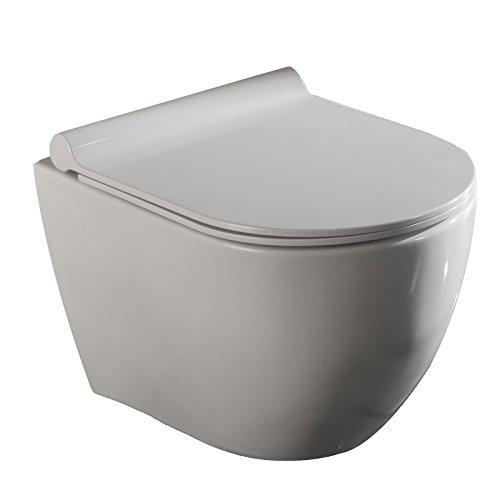 Lux-aqua 2196-N spülrandlos Wand Hänge Toiliette mit Nano Beschichtung/Softclose WC Sitz TR2196-N