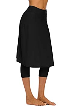 Micosuza Long Swim Skirt with Attached Leggings Modest Sun Protection Sports Skirt for Women Black