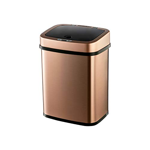 Ninestars Bedroom or Bathroom Automatic Touchless Infrared Motion Sensor Trash Can, 3 Gal 12L, Stainless Steel Base (Rectangular, Rose Gold/Black Lid)