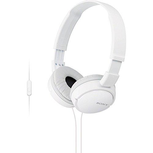 Sony MDR-ZX110AP faltbarer Bügelkopfhörer mit Headsetfunktion, weiß