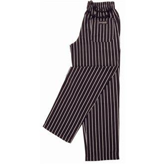Chef Works a940-xxl Easy Fit broek, unisex, gestreept, maat XXL, zwart en wit