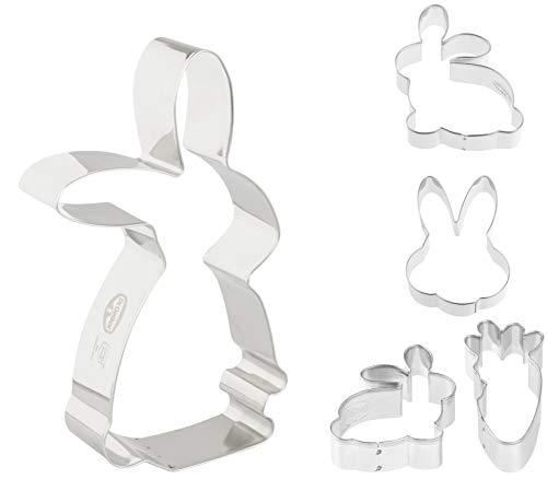 Dr. Oetker Hasenausstecher-Set, Serie Goldiges Ostern, Keks- und Plätzchenformen zum Backen, vielfältige Osterhasen, Ausstecher mit niedlichen Tiermotiven (Farbe: Silber), Menge: 1 x 5er Set