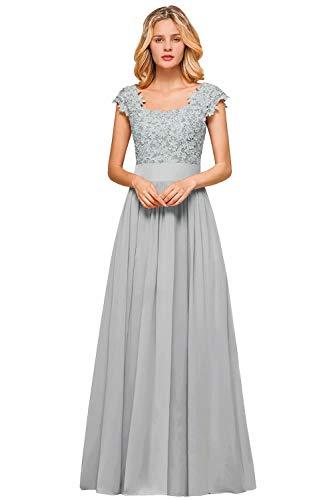 MisShow Damen Traumhaft V-Ausschnitt Abendkleid Spitze glitze Promkleid Applique Maxilang Silver 44