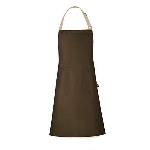 BONTHEE Schürze Kochschürze mit Taschen Coffee Chef Kochschürze 100% Baumwolle Waschbar und Pflegeleicht