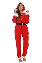 Just Love Cute Mrs. Claus Onesie for women faux fur lined Christmas pajamas