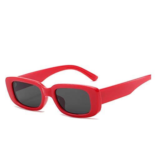 ZYHWS Gafas de Sol de la Vendimia para Las Mujeres Retro diseñador de la Marca Pequeño rectángulo Gafas de Sol Sombras de gradiente Classic Gafass (Frame Color, Lenses Color : Red)