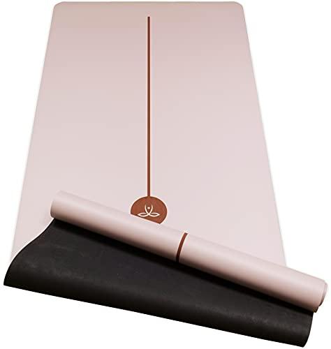 OVO Santulan - Kit Tapis de Yoga en Caoutchouc Naturel, Hyper Antidérapant, Doux, Stable et Confortable, Certifié Ecologique par SGS, 183x68cm, Non Toxique + Tube de Rangement + Sangle + Ebook Offert