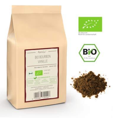 20g Echte BIO Bourbon Vanille gemahlen aus Madagaskar - aromatisches BIO Bourbon Vanille Pulver, ohne Zusätze - Vanillepulver in biologisch abbaubarer Verpackung