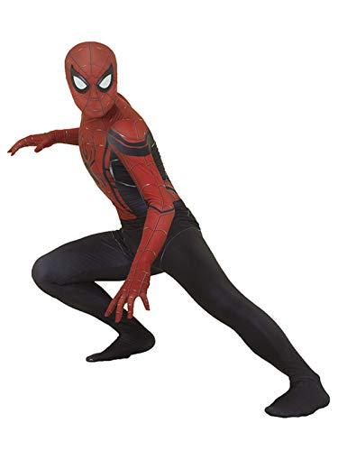 NVHAIM Niños para Adultos Superhero Spider-Men Cosplay Traje, Lycra Traje de Halloween Miles Morales Morales Stereo 3D Mascarilla de Ojo Negro,Men XXXL