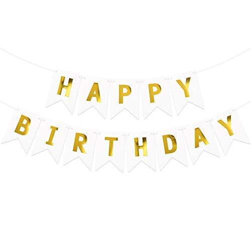 Guirnalda Happy Birthday Banner Decoracion Fiesta de Cumpleaños Banderines Feliz Cumpleaños Blanco Dorado