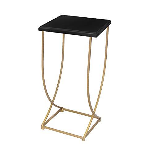 Modern Simplicity Living Room Sofa Side Table Iron Art Small Tea Table Metal Corner Table Side Cabinet Shelf (Color : Black, Size : 36 * 36 * 74cm)