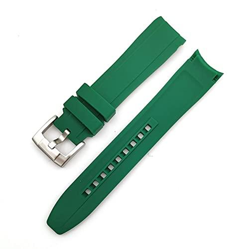 FETTR Correa de reloj de silicona suave de 18 mm, 20 mm, 22 mm, codo de arco deportivo, para hombres y mujeres, accesorios de pulsera de goma universal (color: verde, tamaño: 20 mm)
