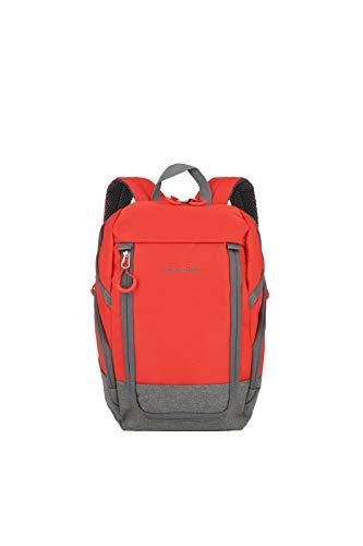 travelite Handgepäck Rucksack für Reise, Freizeit und Sport, Gepäck Serie BASICS Daypack: Kompakter travelite Rucksack, 096290-10, 35 cm, 14 Liter, rot/grau