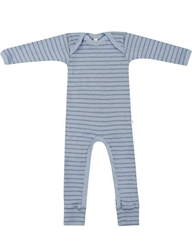 Dilling Anzug für Babys aus 100% Bio-Merinowolle Blau gestreift 74