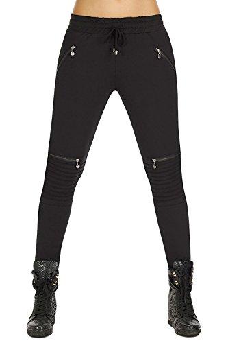 bequeme Schlupfhose im Biker-Stil * Gr. S-XXL * Gummizug Hose Damen schwarz Bikerhose Leggings (Izzy Gr. XL)
