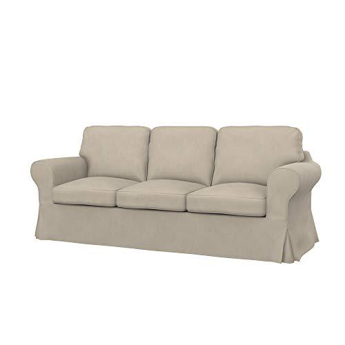 Soferia Fodera Extra Ikea EKTORP Divano a 3 posti, Tessuto Majestic Velvet Beige