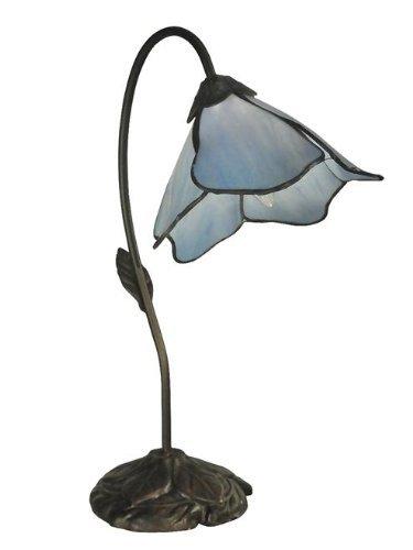 Dale Tiffany TT12145 Lámpara de mesa de lirio azul claro, 12.0' x 12.0' x 19.0', bronce antiguo oscuro