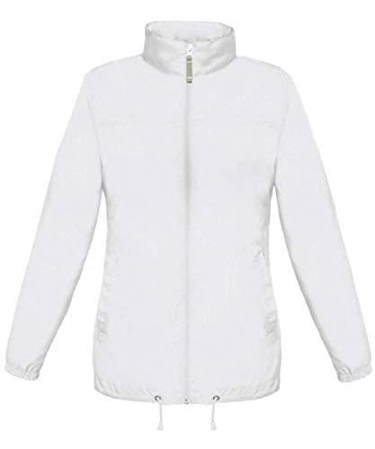Shirtinstyle Basic Lady Windjacke Regenjacke Jacke Waserabweisend mit Kapuze viele Farben, White XL