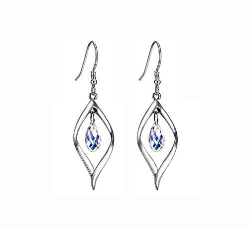 Fashion Swarovski Crystal Twist Leaf 925 Sterling Silver Drop Earrings for Women in Gold-plated