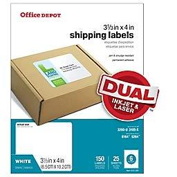 Office Depot - Etiquetas de envío láser para inyección de tinta, 3 1/3 pulgadas x 4 pulgadas,...